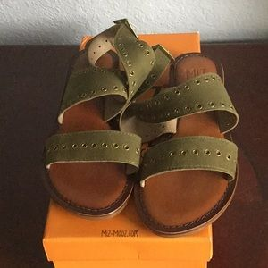 Olive Green Leather sandals.